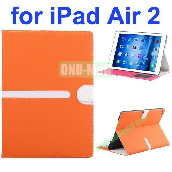 Cross Texture Mix Color Leather Case for iPad Air 2 with Card Slots and Photo Slots (Orange)