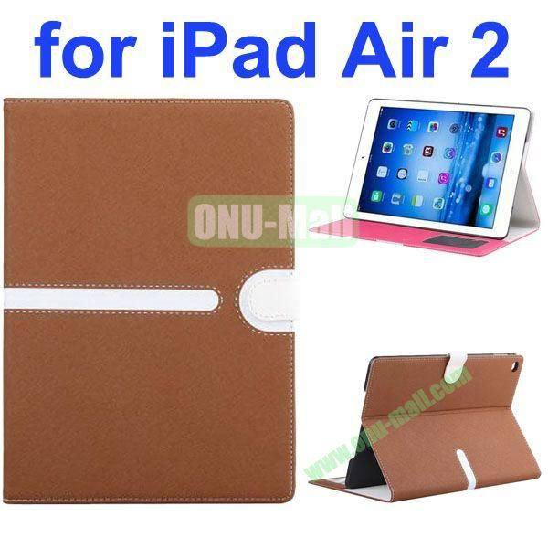 Cross Texture Mix Color Leather Case for iPad Air 2 with Card Slots and Photo Slots (Brown)