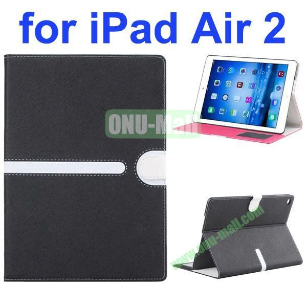 Cross Texture Mix Color Leather Case for iPad Air 2 with Card Slots and Photo Slots (Black)