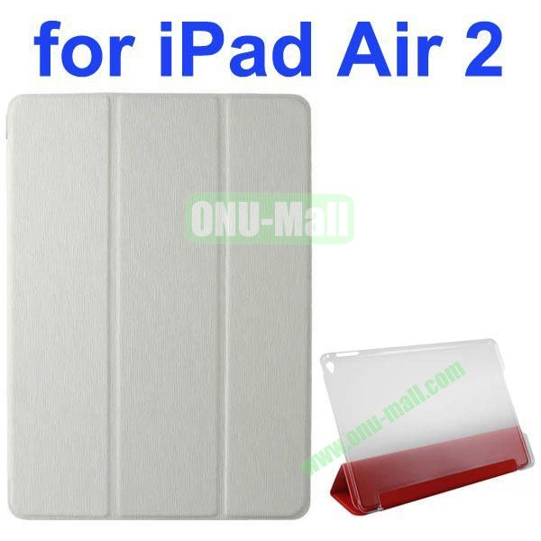 3-folding Toothpick Texture Flip Leather Case for iPad Air 2 with Transparent Hard PC Back Cover (White)
