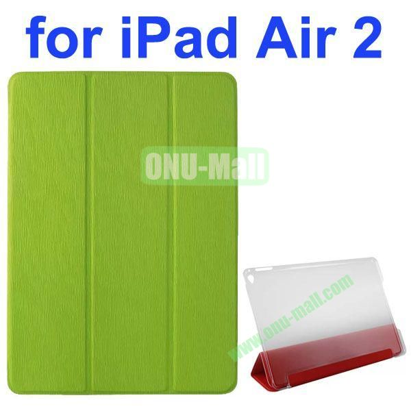 3-folding Toothpick Texture Flip Leather Case for iPad Air 2 with Transparent Hard PC Back Cover (Green)