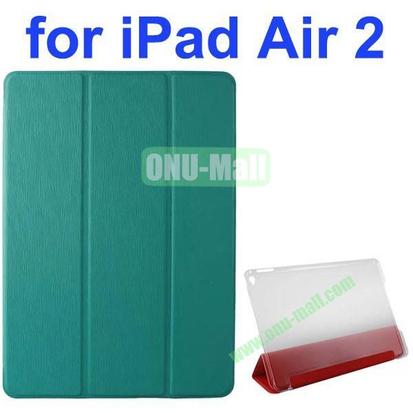 3-folding Toothpick Texture Flip Leather Case for iPad Air 2 with Transparent Hard PC Back Cover (Blue)