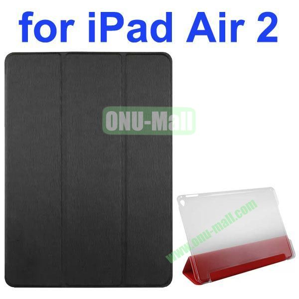 3-folding Toothpick Texture Flip Leather Case for iPad Air 2 with Transparent Hard PC Back Cover (Black)