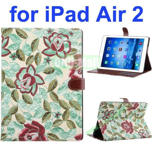 New Arrival Flower Pattern Flip PU Leather Case for iPad Air 2 iPad 6 with Stand and Card Slots (Green)