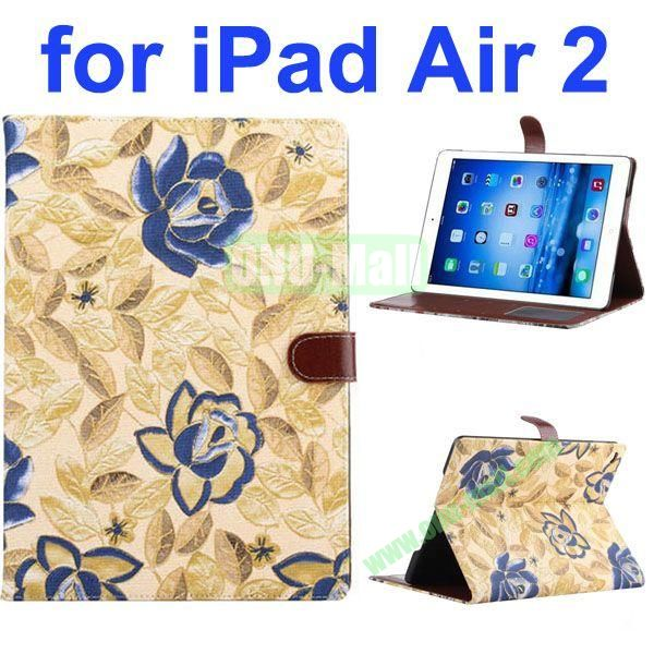 New Arrival Flower Pattern Flip PU Leather Case for iPad Air 2 iPad 6 with Stand and Card Slots (Yellow)