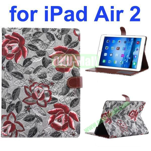 New Arrival Flower Pattern Flip PU Leather Case for iPad Air 2 iPad 6 with Stand and Card Slots (Grey)