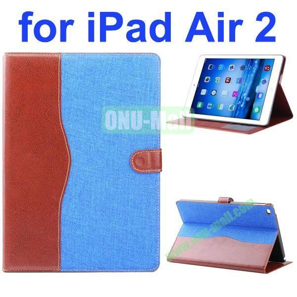 Cowboy Texture Flip PU Leather Case for iPad Air 2 iPad 6 with Stand and Card Slots (Light Blue)