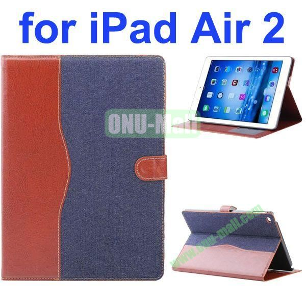 Cowboy Texture Flip PU Leather Case for iPad Air 2 iPad 6 with Stand and Card Slots (Dark Blue)