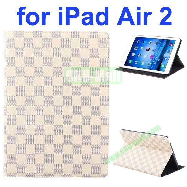 Grid Pattern Flip Leather Case for iPad Air 2iPad 6 with Hard PC Back Cover (White)