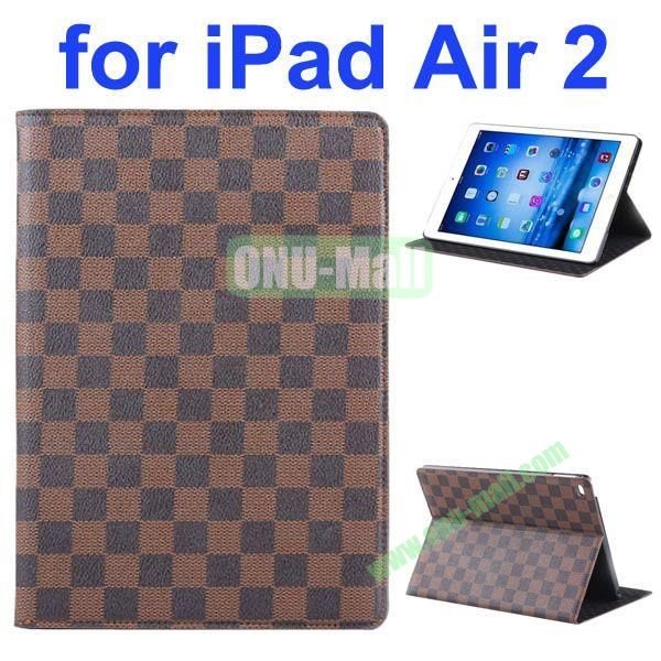 Grid Pattern Flip Leather Case for iPad Air 2iPad 6 with Hard PC Back Cover (Brown)