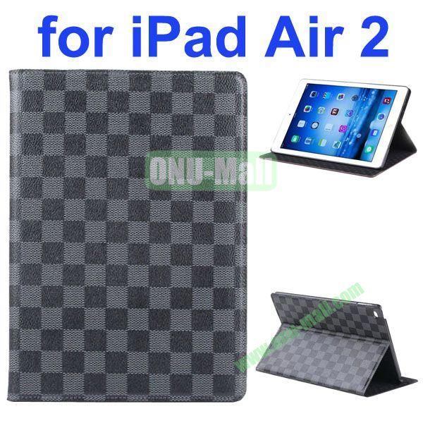 Grid Pattern Flip Leather Case for iPad Air 2iPad 6 with Hard PC Back Cover (Black)