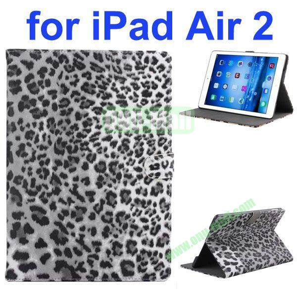 New Arrival Leopard Print Pattern Flip Leather Case for iPad Air 2iPad 6 (Gray)