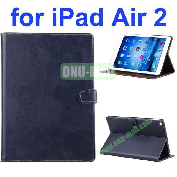 New Arrival Flip Smart Genuine Leather Case for iPad Air 2iPad 6 with Photo Slots (Dark Blue)