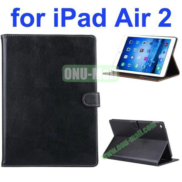 New Arrival Flip Smart Genuine Leather Case for iPad Air 2iPad 6 with Photo Slots (Black)
