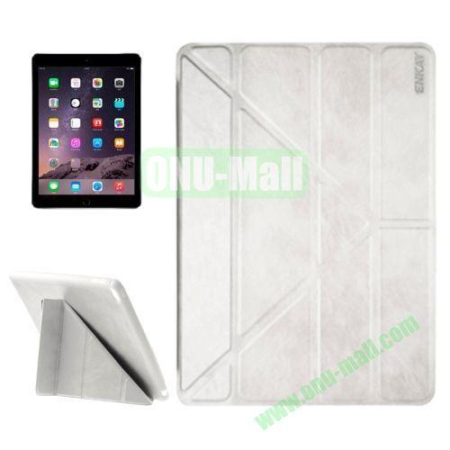 Multi-folding Sheepskin Leather Case for iPad Air 2 iPad 6 (Silver)