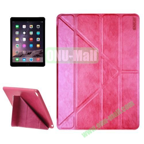 Multi-folding Sheepskin Leather Case for iPad Air 2 iPad 6 (Rose)