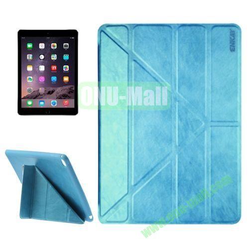 Multi-folding Sheepskin Leather Case for iPad Air 2 iPad 6 (Blue)