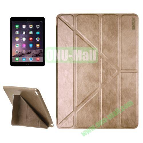 Multi-folding Sheepskin Leather Case for iPad Air 2 iPad 6 (Gold)