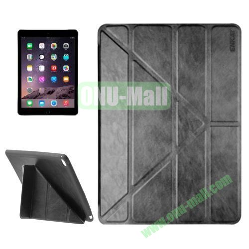 Multi-folding Sheepskin Leather Case for iPad Air 2 iPad 6 (Black)