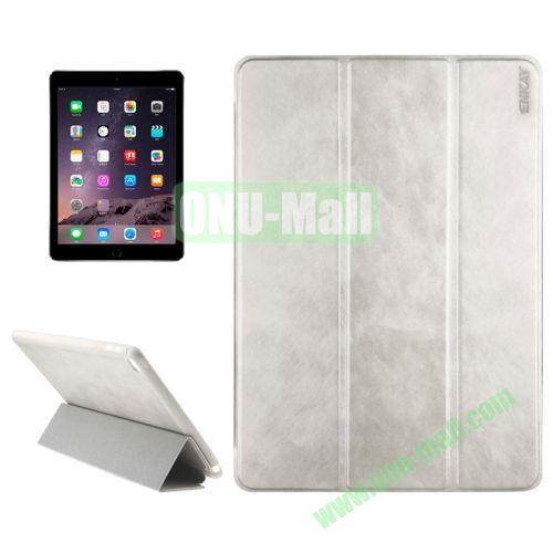 3-folding Sheepskin Horizontal Flip Leather Case for iPad Air 2 iPad 6 (Silver)