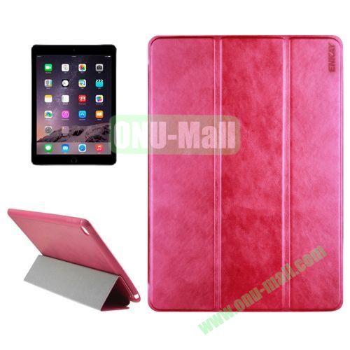 3-folding Sheepskin Horizontal Flip Leather Case for iPad Air 2 iPad 6 (Rose)