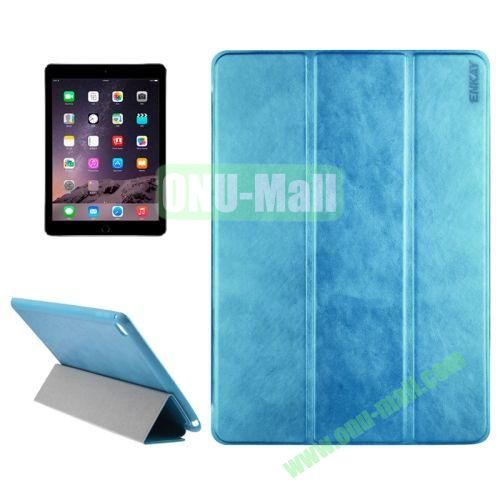 3-folding Sheepskin Horizontal Flip Leather Case for iPad Air 2 iPad 6 (Blue)