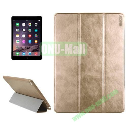 3-folding Sheepskin Horizontal Flip Leather Case for iPad Air 2 iPad 6 (Gold)