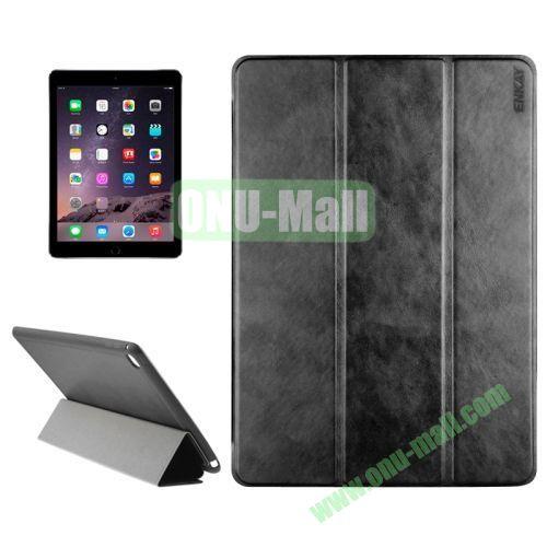 3-folding Sheepskin Horizontal Flip Leather Case for iPad Air 2 iPad 6 (Black)