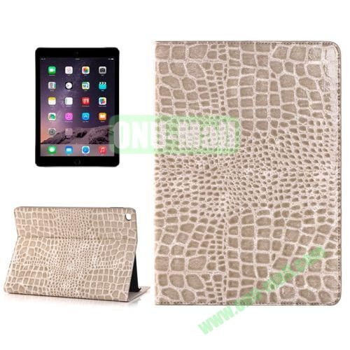 Crocodile Texture Horizontal Pattern Flip Leather Case for iPad Air 2 with Card Slots and Holder (Coffee)