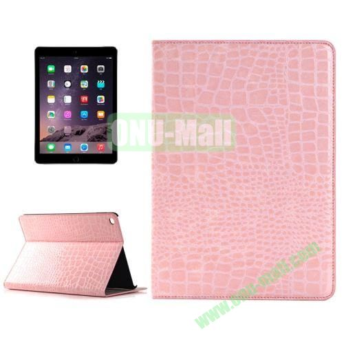 Crocodile Texture Horizontal Pattern Flip Leather Case for iPad Air 2 with Card Slots and Holder (Pink)