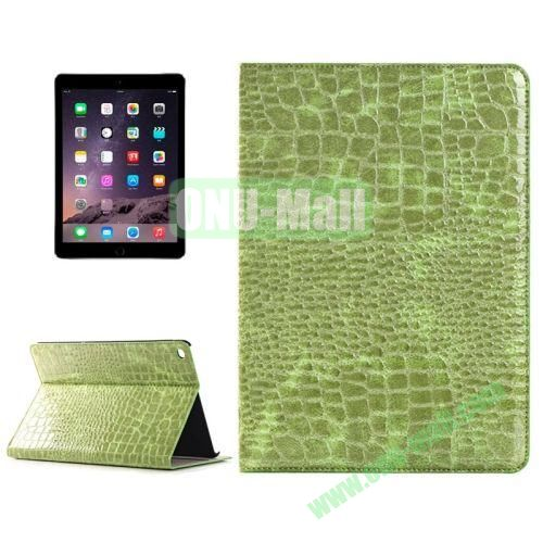 Crocodile Texture Horizontal Pattern Flip Leather Case for iPad Air 2 with Card Slots and Holder (Green)