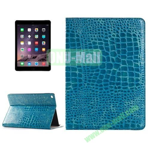 Crocodile Texture Horizontal Pattern Flip Leather Case for iPad Air 2 with Card Slots and Holder (Blue)