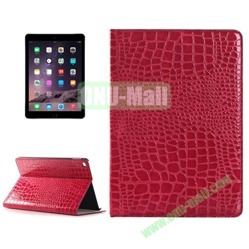 Crocodile Texture Horizontal Pattern Flip Leather Case for iPad Air 2 with Card Slots and Holder (Magenta)