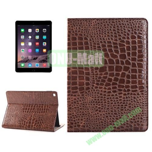 Crocodile Texture Horizontal Pattern Flip Leather Case for iPad Air 2 with Card Slots and Holder (Brown)