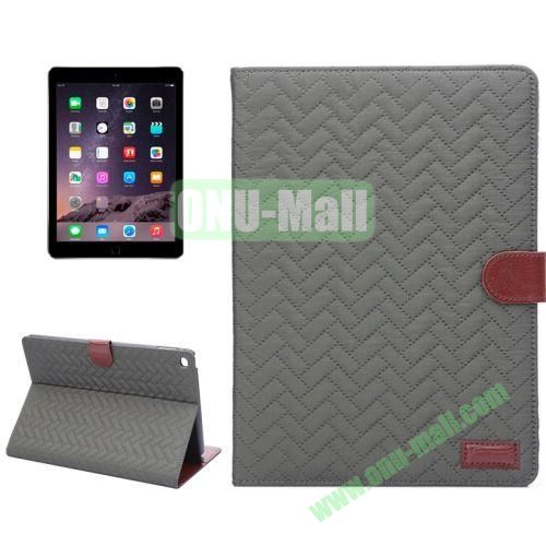 Plaid Texture Mix Color Leather Case for iPad Air 2 with Card Slots and Holder (Army Green)