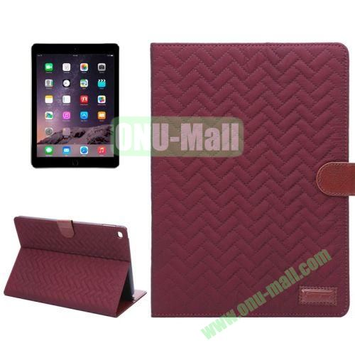 Plaid Texture Mix Color Leather Case for iPad Air 2 with Card Slots and Holder (Red)
