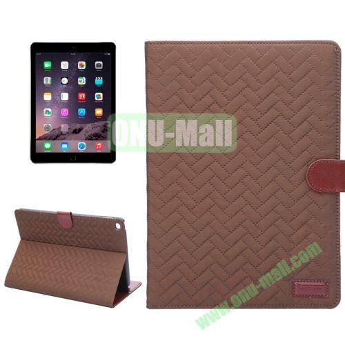 Plaid Texture Mix Color Leather Case for iPad Air 2 with Card Slots and Holder (Brown)