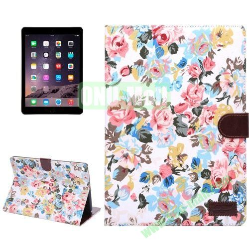 Smart Sleep  Wake-up Function Flower Pattern Flip Leather Case for iPad Air 2 with Holder and Card Slots (Red)