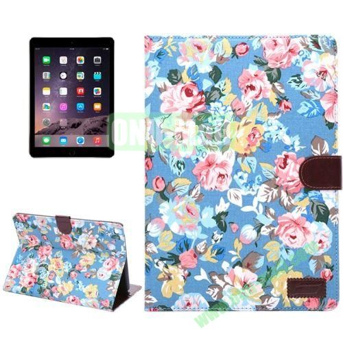Smart Sleep  Wake-up Function Flower Pattern Flip Leather Case for iPad Air 2 with Holder and Card Slots (Blue)