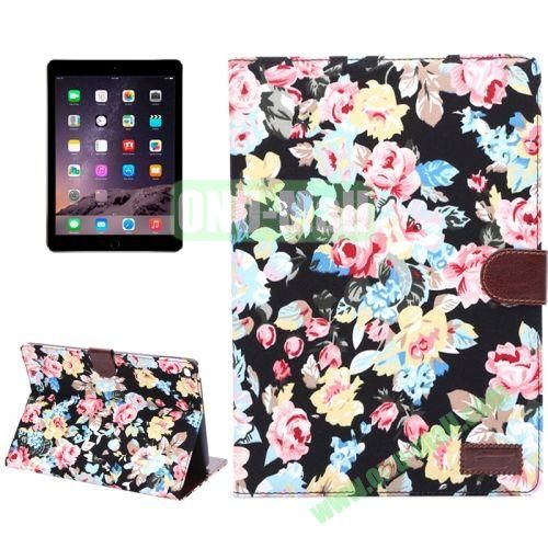 Smart Sleep  Wake-up Function Flower Pattern Flip Leather Case for iPad Air 2 with Holder and Card Slots (Black)
