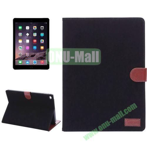Smart Sleep  Wake-up Function Canvas Texture Flip Leather Case for iPad Air 2 with Holder and Card Slots (Black)