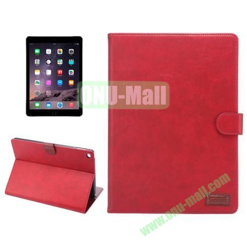 Wallet Pattern Crazy Horse Texture Stand Leather Case for iPad Air 2 with Sleep Wake-up Function (Red)