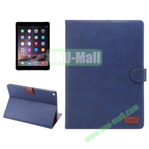 Wallet Pattern Crazy Horse Texture Stand Leather Case for iPad Air 2 with Sleep Wake-up Function (Blue)