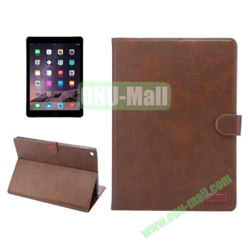 Wallet Pattern Crazy Horse Texture Stand Leather Case for iPad Air 2 with Sleep Wake-up Function (Coffee)