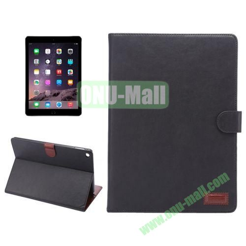 Wallet Pattern Crazy Horse Texture Stand Leather Case for iPad Air 2 with Sleep Wake-up Function (Black)