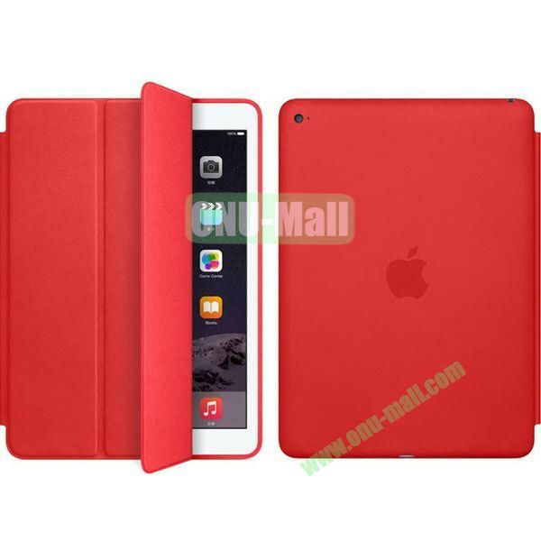 Official Style 3-Folding Leather Case for iPad Air 2 (Red)
