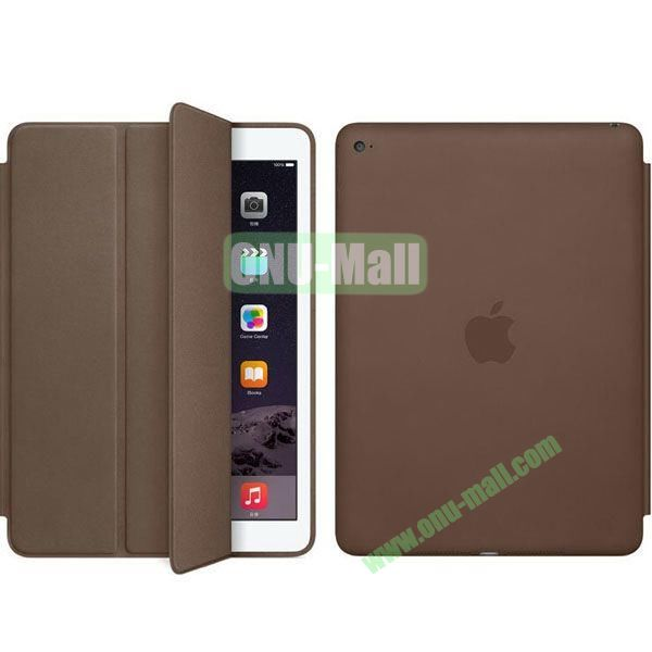 Official Style 3-Folding Leather Case for iPad Air 2 (Grey)