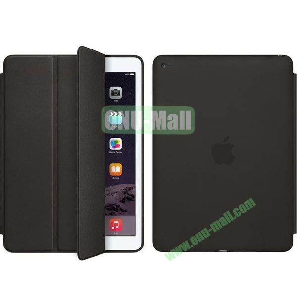 Official Style 3-Folding Leather Case for iPad Air 2 (Black)