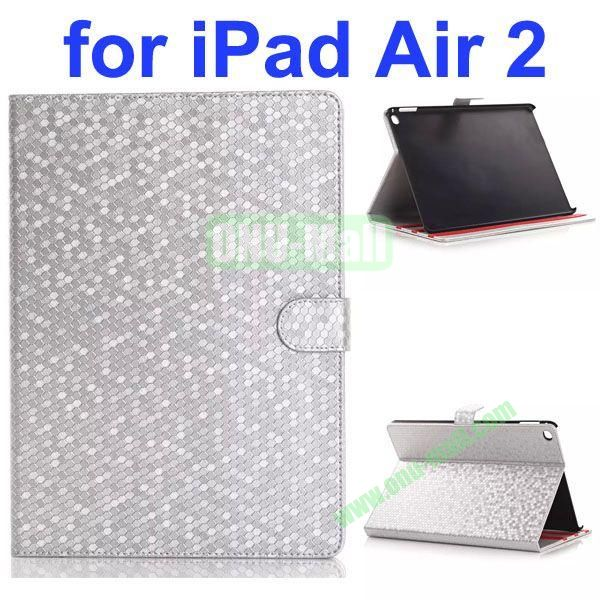 Diamond Texture Flip Leather Case with Back Cover for iPad Air 2 with Gears (Silver)