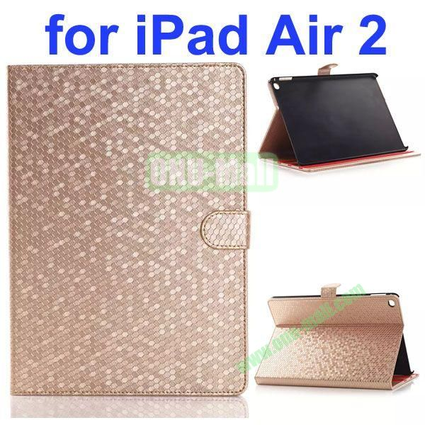 Diamond Texture Flip Leather Case with Back Cover for iPad Air 2 with Gears (Gold)